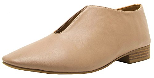 Cambridge Select Women's Front Cutout Slip-On Low Block Heel Loafer Warm Taupe Pu