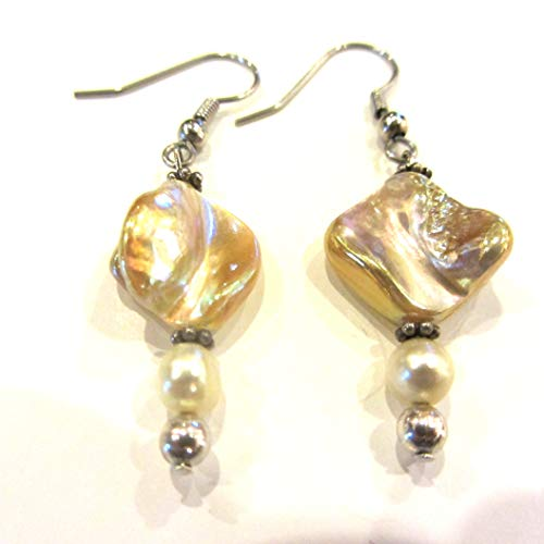 Ring Pearl Abalone - Champagne Abalone and Pearl Earrings