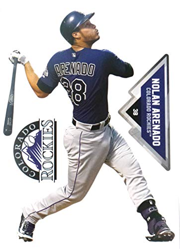 FATHEAD Nolan Arenado Mini Colorado Rockies Logo Official MLB Peel and Stick Re-Usable Vinyl Wall Graphics 7