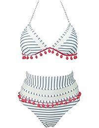 ceb91e82f4df9 Women s Mesh Striped High Waist Bikini Set Tassel Trim Top Halter Straps  Swimsuit(FBA)