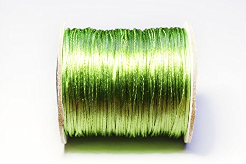 Bistore - Premium Nylon Satin cord, shiny silk look, for Beading and knoting (1mm Thick, Olive Crab)