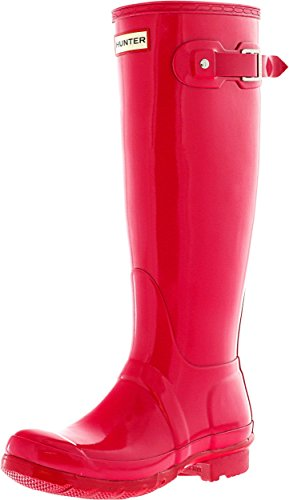 Hunter Women's Original Tall Gloss Bright Pink Knee-High Rain Boot - 7M (Pink Hunter Rain Boots)
