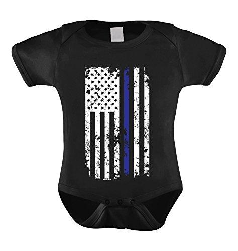 HAASE UNLIMITED Thin Blue Line American Flag Infant Bodysuit (Black, 18 Months)