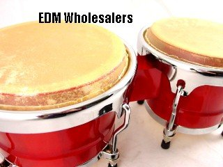 BONGOS 8''+9'' inch RED WOOD, DUAL DRUMS SET, WORLD LATIN Percussion NEW by EDMBG