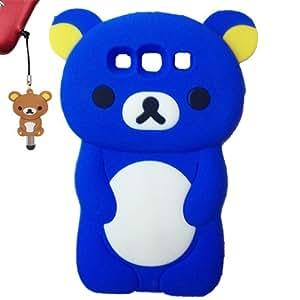 Cartoon Rilakkuma Bear 3d Tpu Silicon Soft Cover Case for Samsung Galaxy S3 I9300 S Iii (Blue)