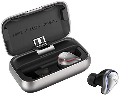 Ayake Silver O5 Bluetooth 5.0 Headphones Waterproof IPX7, True Wireless Earbuds Sports, Richer Bass HiFi Stereo in-Ear Earphones w Mic, 7-9 Hours Playback Noise Cancelling Headsets Auto-Pairing
