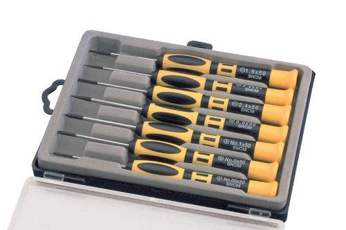 with Case 7-Piece Aven 13940 Precision Chromium Vanadium Steel Slotted//Phillips Screwdriver Set