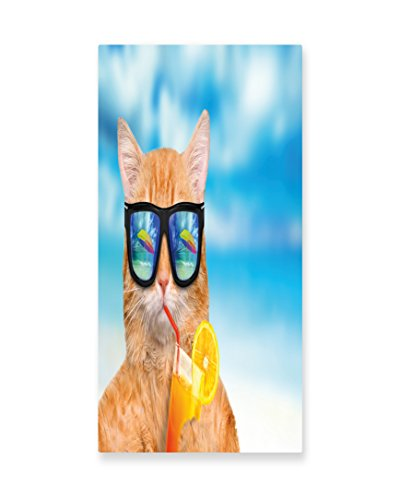 Lunarable Funny Wall Art, Cat Wearing Sunglasses Relaxing Cocktail in the Sea Background Summer Kitty Image, Gloss Aluminium Modern Metal Artwork for Wall Decor, 11.6 W X 23.5 L Inches, (Ginger Cat Costumes)