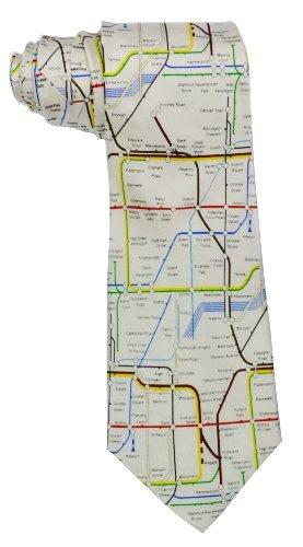 Elegance1234 Men's 100% Silk London Underground Tube Train Tie 4