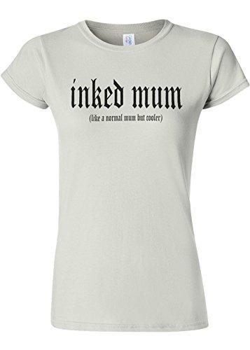 彼自身農村対人Inked Mum Is Cooler Novelty White Women T Shirt Top-L