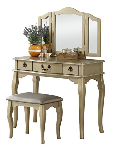 Poundex F4095 PDEX-F4095 Vanity Table with Stool Set, Champagne
