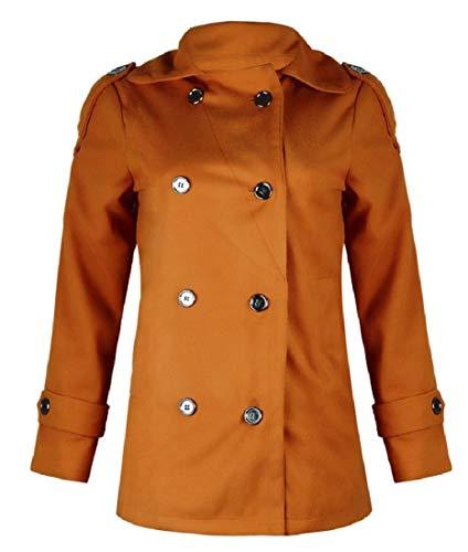 Breasted XINHEO Winter Turn brown Collar Overcoat yellowish Down Women Double Slim Caawqrx60O