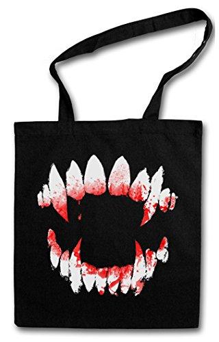 VAMPIRE DENTITION Hipster Shopping Cotton Bag Borse riutilizzabili per la spesa – Vampyre sangue denti True Bite Teeth Jaws Blood Dracula