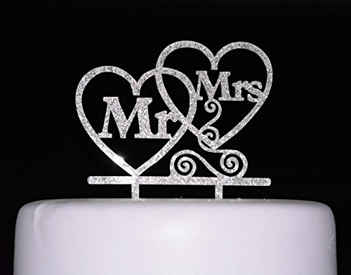 Kiskistonite Cake Decorating Supplies Bride and Groom Cake Topper, Mr and Mrs Sign, Wedding Decorations-Silver