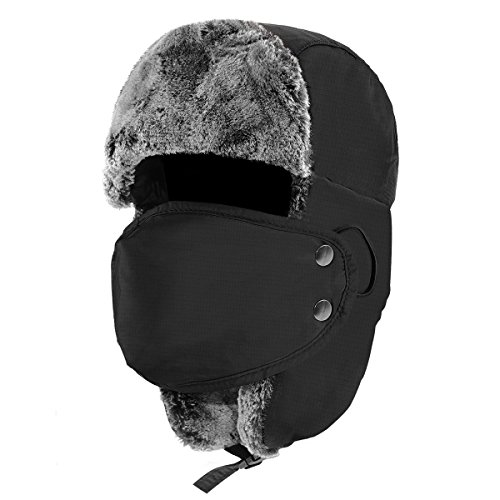 Fur Trapper (Hippih Winter Trooper Trapper Hat Hunting Ushanka With Windproof Mask Ear Flap)
