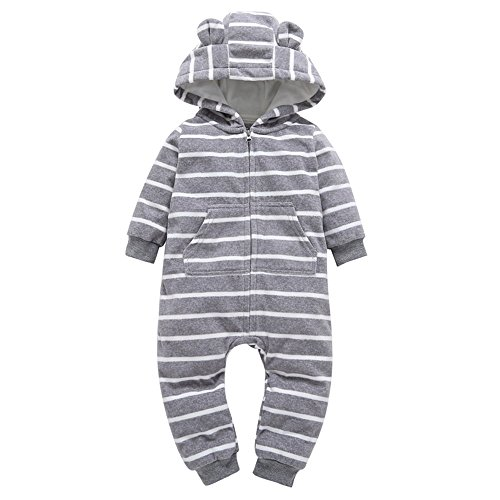 Hooded Fleece Tinkerbell - Sameno Christmas Baby Boys Girls Thicker Print Hooded Romper Jumpsuit Pajamas (Red, 18-24 Months) (Gray, 0-6 Months)