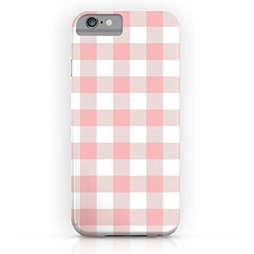 - Phone Case Protectivedesign Hard Back Case Coral Checker Gingham Pink Plaid Compatible Slim Case for iPhone 8 Plus with Tempered Glass Screen Protector