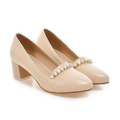 AdeeSu Womens No-Closure Round-Toe Chunky Heels Urethane Urethane Loafers Shoes SDC03745 Apricot P2ibrhk