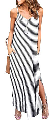 ETCYY Women's Summer Casual Stripe Sleeveless Loose Beach Maxi Dress -