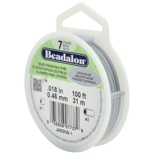 Beadalon 7-Strand Bead Stringing Wire, 0.018-Inch, Satin Silver, 100-Feet ()