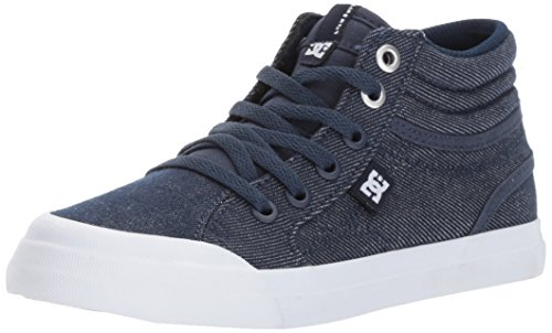 DC Youth Evan Hi TX Skate Shoe (Little), Denim, 7 M US Big Kid