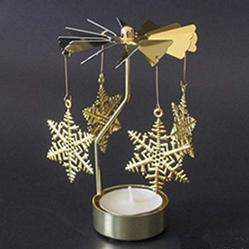 MSOO Hot Spinning Rotary Metal Carousel Tea Light Candle Holder Stand Light Xmas Gift (O)