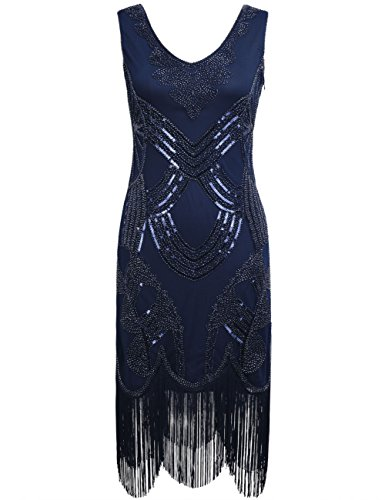KAYAMIYA Womens 1920s Beaded Sequined Pattern Fringe Gatsby Flapper Dress, Noble Blue, -