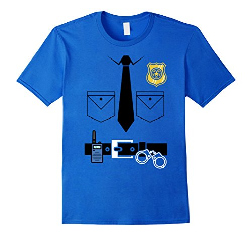 Mens Police Officer Super Simple Halloween Costume T-Shirt Small Royal (Simple Costumes For Halloween Party)