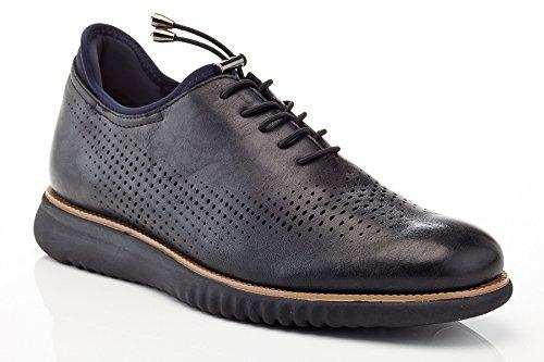 Solo Mens Graham Tillfällig Perforerad Mode Oxford Sneaker Svart Slät