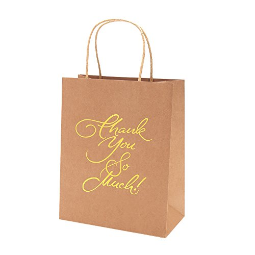 Crisky Kraft Paper Thank You Gift Bags Birthday & Wedding Party Favor Bags for Hotel Guests, Party Favor Bags, Print Thank You So Much, Candy Buffet Bags, set of 25 Load-bearing 8 lbs (Recycled Favor Bags)