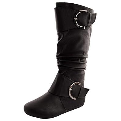 Amazon.com | Top Moda Women's Bank- 81 Faux Suede Round Toe Buckle ...