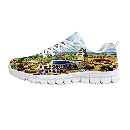 (TecBillion Medieval Decor Comfortable Sports Shoes,Aerial Photo of Old Medieval Church and Gothic Town Middle Age Renaissance Europe Building for Men & Boys,US Size 12.5)