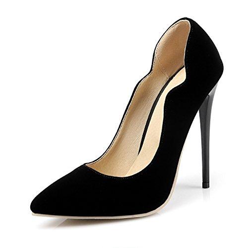 Printemps Pointu Talons Cuir Verni Chaussures Cross Et Country Peu Chaussures Le Bouche XIAOQI à Noir pour Chaussures Nouveau Profonde Été Sexy rOqrxvF