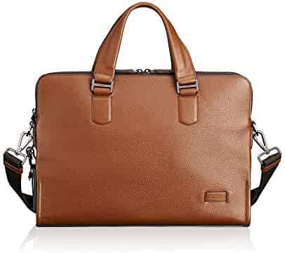 TUMI - Harrison Seneca Leather Laptop Slim Brief Briefcase - 15 Inch Computer Backpack for Men and Women - Umber Pebbled