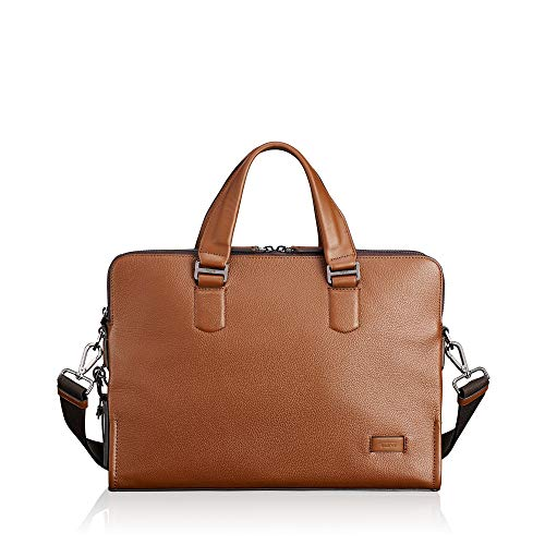 (TUMI - Harrison Seneca Leather Laptop Slim Brief Briefcase - 15 Inch Computer Backpack for Men and Women - Umber Pebbled)