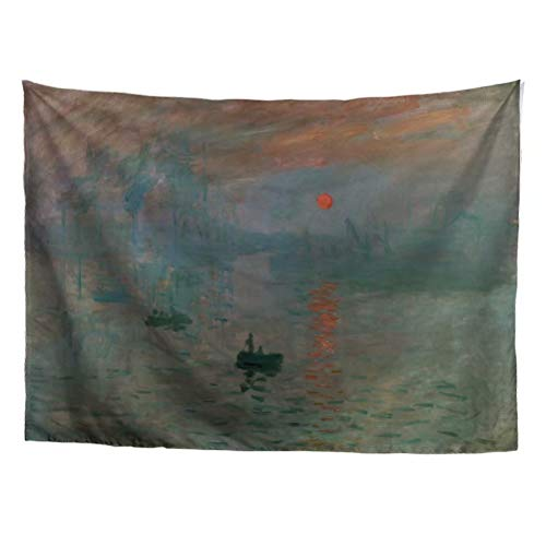 Impressions Wall Tapestry - World Classic Art Masterpiece Tapestry Series Claude Monet Impression Sunrise 1872. Classical Art Tapestry Wall-Hanging Antique Vintage Collection Home Décor