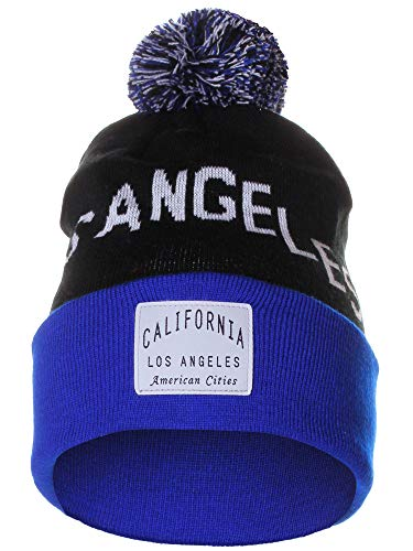 American Cities Los Angeles California Arch Letters Pom Pom Knit Hat Cap Beanie