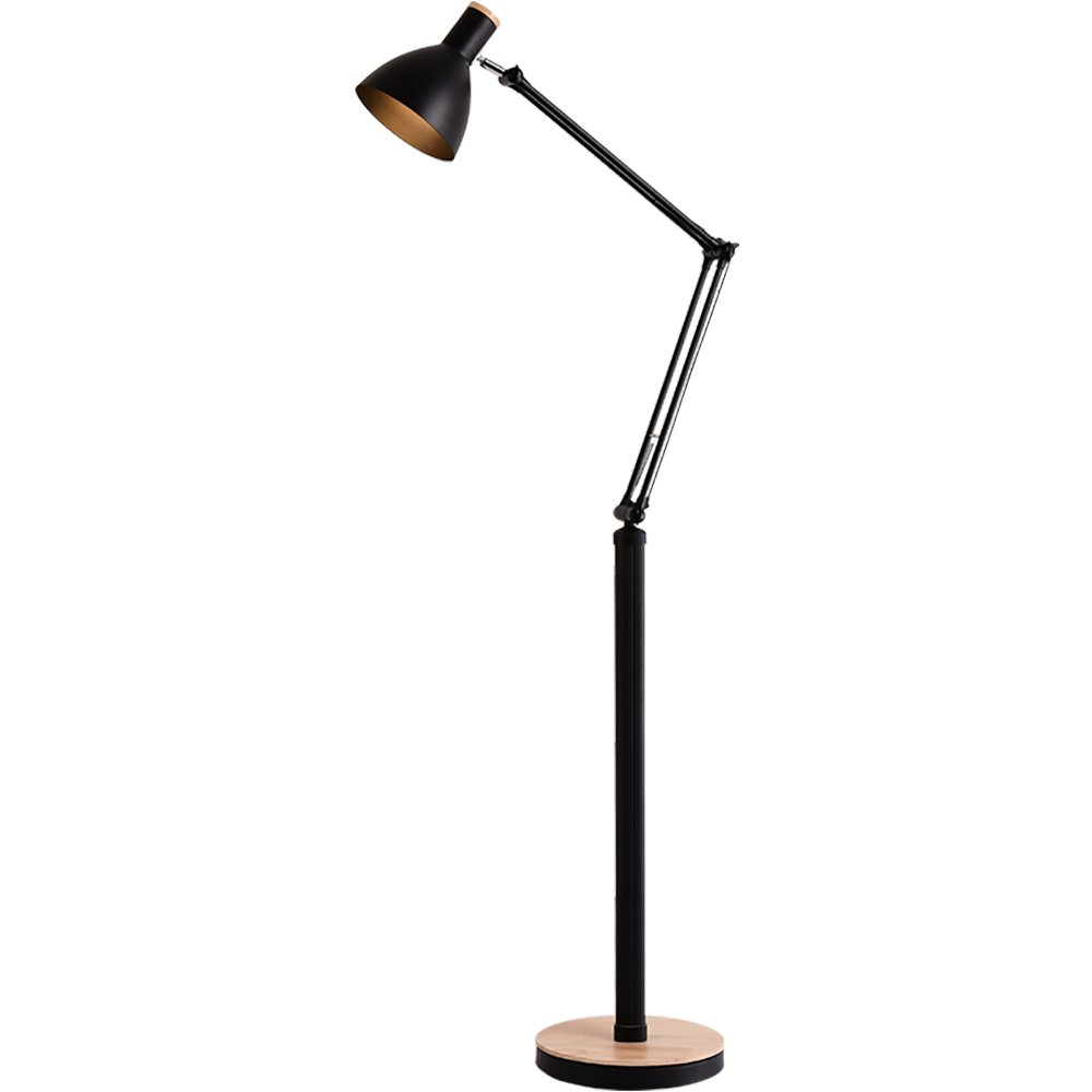 GF Floor Lamp Wood Art Creative Simple Living Room Bedroom Study Floor Lamp Vertical Floor Lamp - Black/White floor lamp (Color : A)