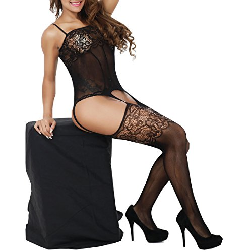Gartered Stockings - Fishnet Gartered Crotchless Bodystocking Women Lace Floral Babydoll (Black)