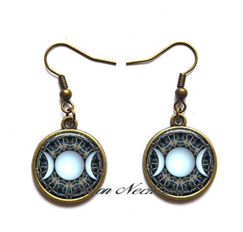 Moon Earrings,Triple Goddess Stud earrings, Wiccan jewelry, Moon Goddess jewelry, Wiccan Earrings, Goddess Earrings Goddess ()