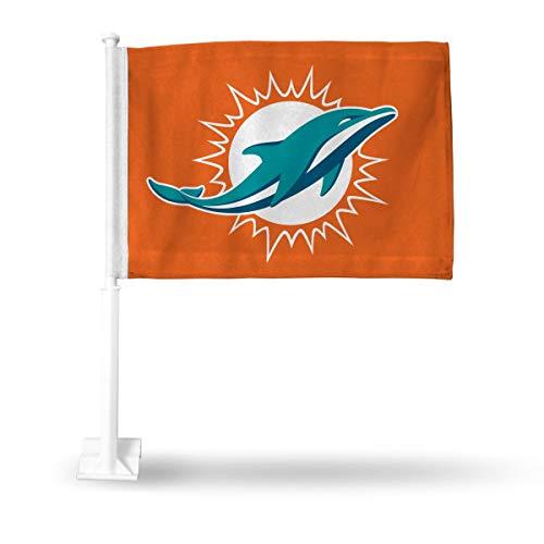 Miami Dolphins Car Flag - Rico Industries NFL Miami Dolphins Car Flag, Orange, with White PoleCar Flag, Orange, with White Pole, Orange, 19