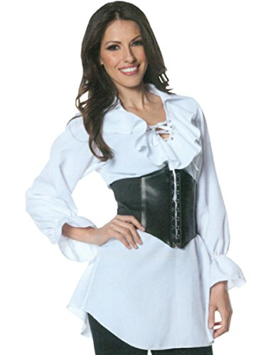 Underwraps Women's Plus-Size Pirate Laced Front Blouse, White, XX-Large (Adult Female Pirate Costume)