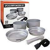 Juego de cocina de aluminio Milestone Camping (paquete de 5) - Color plata
