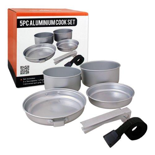 Milestone Camping-Kochset aus Aluminium (5-teilig) - Silber