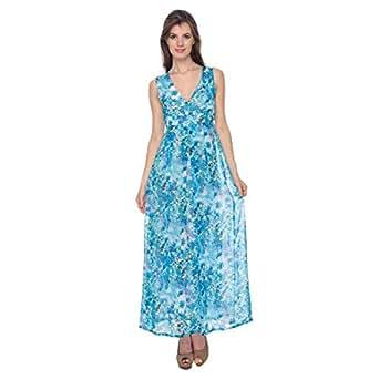 Cocum Maxi Dress For Women - 12 Uk, Blue