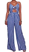 Mr.Seven Women's Spaghetti Strap Striped Bow Tie Knotted Wide Leg Jumpsuit Rompers