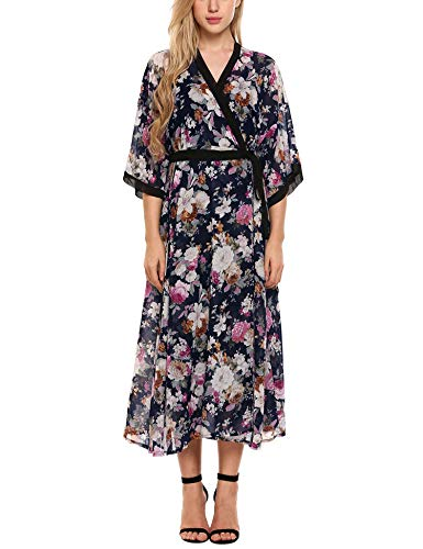 - Zeagoo Women's Floral Flowy Kimono Open Front Beach Cover Ups Navy Blue