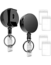 Badge Reel Pack of 2 - Metal Retractable Badge Holder with 31 Inches Strong Dyneema Pull Cord, Belt Clip, Key Ring & 4 Waterproof Vertical Clear ID Card Holders