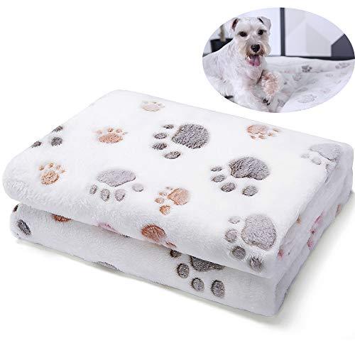 Ballistic Blanket - Allisandro Durable Dog Blanket - Pet Premium Fluffy Flannel Fleece Puppy Throw Blanket - Soft and Cute Paw Design, White, 39x31
