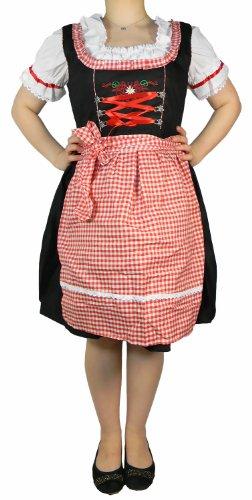 3 Tlg Set Damen Midi Dirndl Bayrische Trachten Kleid + Bluse Schürze Oktoberfest rot-weiss kariert B-WARE (42)